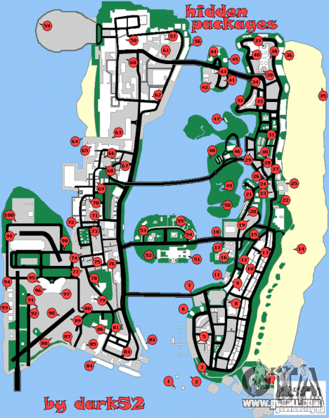 Map hidden packages for GTA Vice City