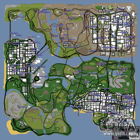 Map of secrets for GTA San Andreas