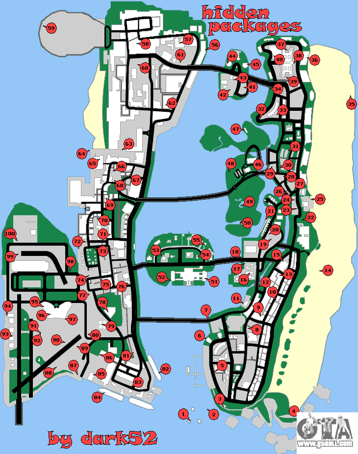 Hidden packages map for GTA Vice City