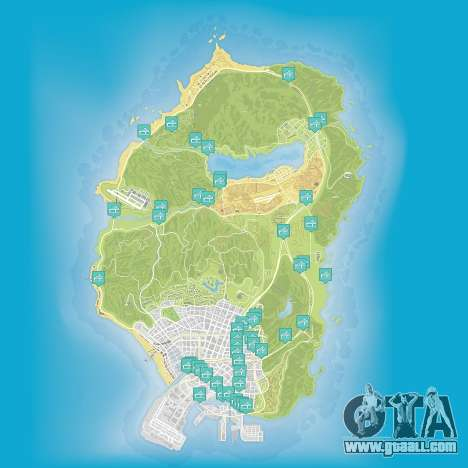 Map of flights under the bridge in Grand Theft Auto 5