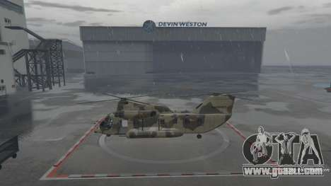 In GTA Online you can find a helicopter straight in front of Devin Weston hangar.