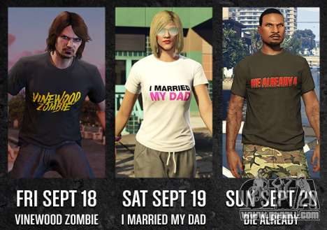 GTA Online Freemode Weekend Events exclusive T-shirts