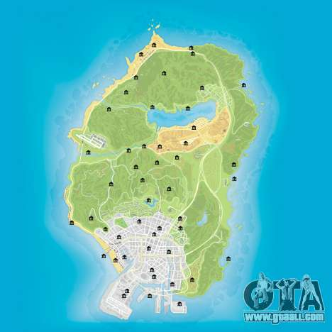 Map of banks in GTA 5