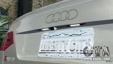 Audi RS6 2010 v1.1 for GTA 4 upper view