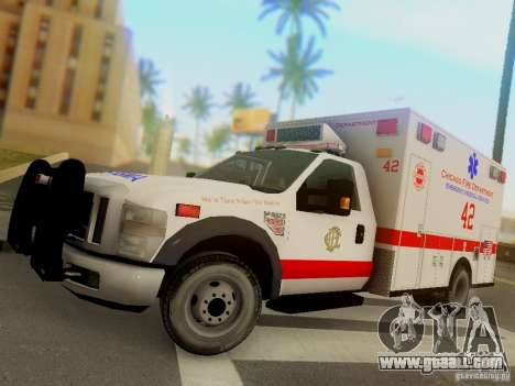 Ford F350 Super Duty Chicago Fire Department EMS for GTA San Andreas left view