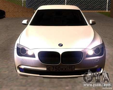BMW 750Li 2010 for GTA San Andreas back view