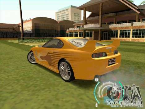 Toyota Supra from 2 Fast 2 Furious for GTA San Andreas back left view
