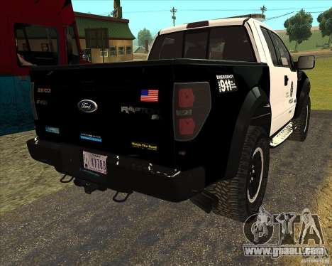 Ford Raptor Police for GTA San Andreas back view