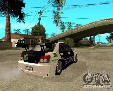 Subaru Impreza Elemental Attack for GTA San Andreas back left view