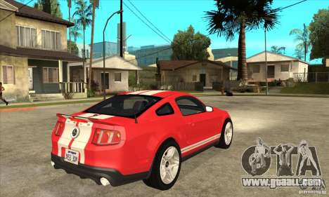 Ford Mustang Shelby GT500 2011 for GTA San Andreas back view