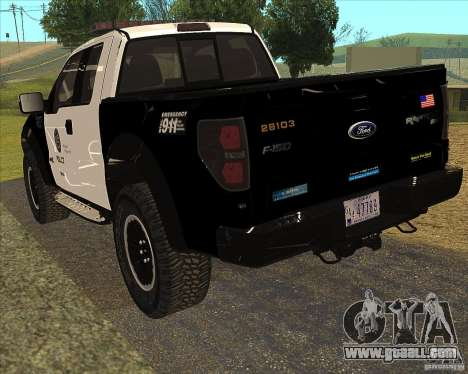 Ford Raptor Police for GTA San Andreas right view