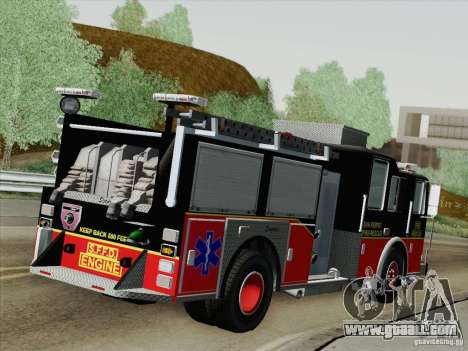 Seagrave Marauder Engine SFFD for GTA San Andreas back left view
