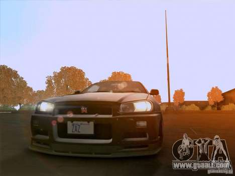 Nissan Skyline GTR R34 for GTA San Andreas right view