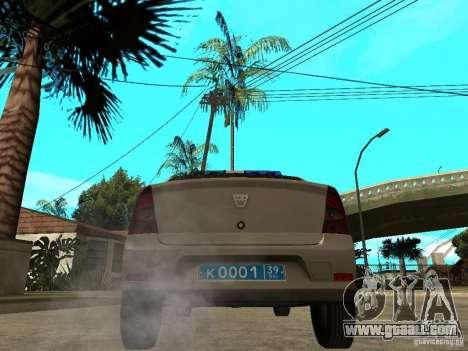 Dacia Logan Police for GTA San Andreas back left view