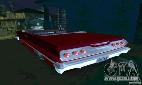 Chevrolet Impala 1963 Lowrider Charged for GTA San Andreas back left view