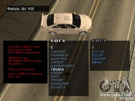 Vehicle Spawner Premium-Spauner machines for GTA San Andreas third screenshot