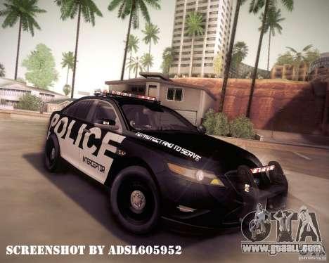 Ford Taurus Police Interceptor 2011 for GTA San Andreas upper view