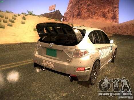Subaru Impreza Gravel Rally for GTA San Andreas inner view