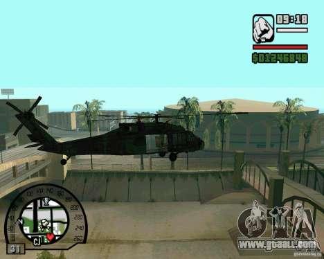 Blackhawk UH60 Heli for GTA San Andreas back left view