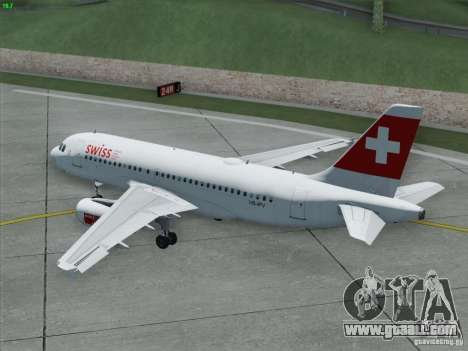 Airbus A319-112 Swiss International Air Lines for GTA San Andreas upper view