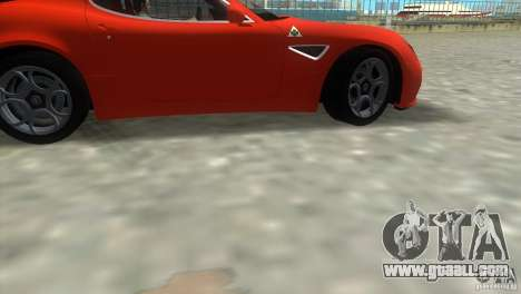 Alfa Romeo 8C Competizione for GTA Vice City back view