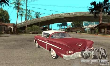 Chevrolet Impala 1958 for GTA San Andreas back left view