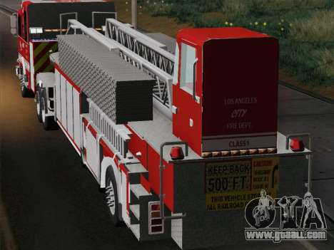 Pierce Arrow XT LAFD Tiller Ladder Trailer for GTA San Andreas back view