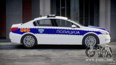 Peugeot 508 Macedonian Police [ELS] for GTA 4 left view