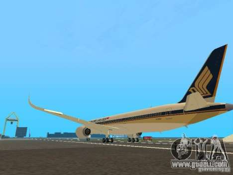 Airbus A350-900 Singapore Airlines for GTA San Andreas back left view