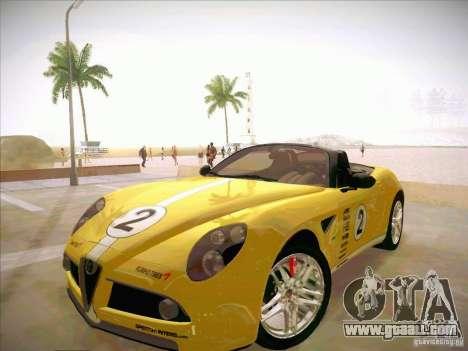 Alfa Romeo 8C Spider for GTA San Andreas upper view