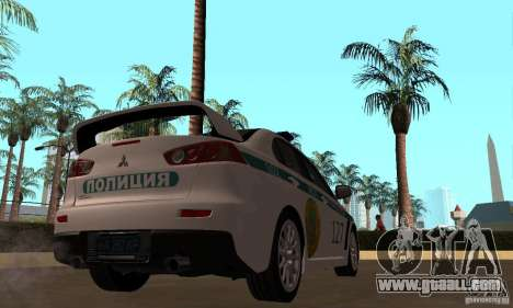 Mitsubishi Lancer Evolution X Police Of Kazakhst for GTA San Andreas back view