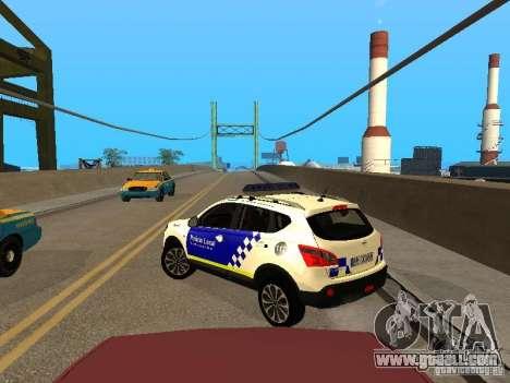 Nissan Qashqai Espaqna Police for GTA San Andreas back left view