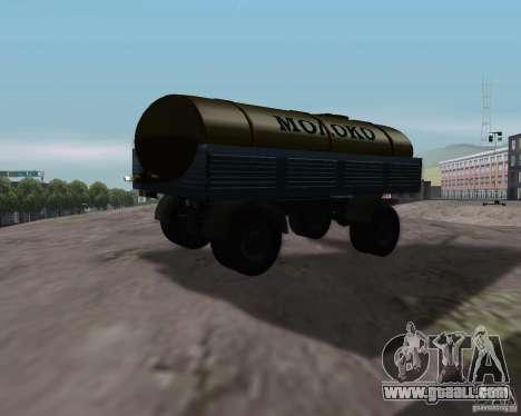 Trailer for Kamaz 53212 milk tanker for GTA San Andreas left view