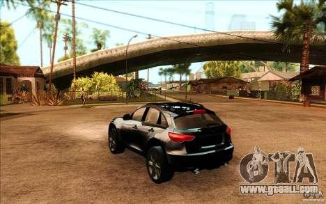 Infiniti FX50 Beta for GTA San Andreas back left view