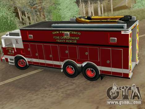 Pierce Walk-in SFFD Heavy Rescue for GTA San Andreas side view