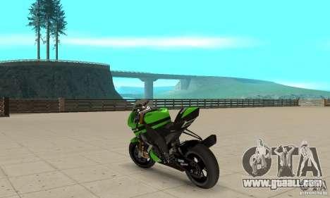 Kawasaki ZX-10R for GTA San Andreas back left view