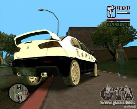 Mitsubishi Lancer EVO X Japan Police for GTA San Andreas back view