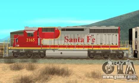 SD40 Santa Fe for GTA San Andreas left view