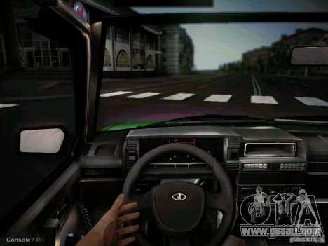 Vaz 2109 short-kryloe Taxi for GTA San Andreas inner view
