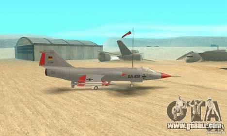 F-104 Starfighter Super (grey) for GTA San Andreas back left view