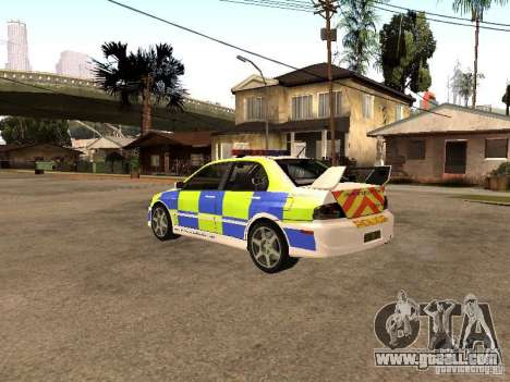Mitsubishi Lancer EVO 8 Uk Policecar for GTA San Andreas left view