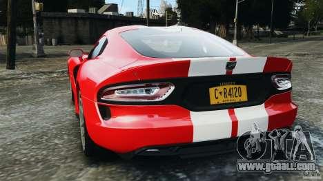 SRT Viper GTS 2013 for GTA 4 back left view