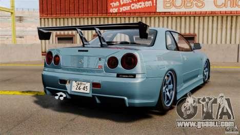 Nissan Skyline GT-R (BNR34) 2002 for GTA 4 back left view