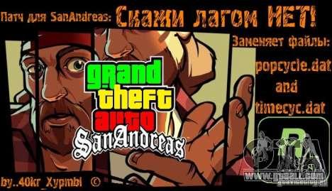 Say no lags! for GTA San Andreas