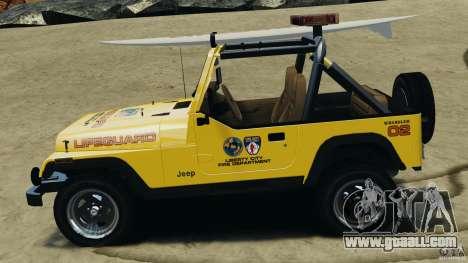 Jeep Wrangler 1988 Beach Patrol v1.1 [ELS] for GTA 4 left view
