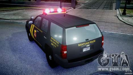 Chevrolet Tahoe Indonesia Police for GTA 4 back view
