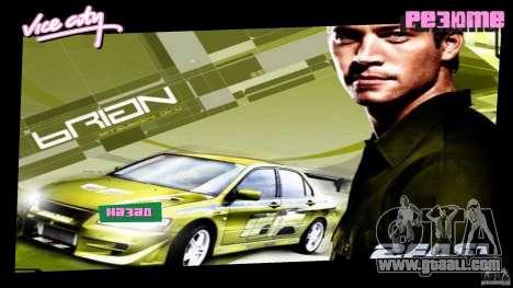 2 Fast 2 Furious Menu Brian for GTA Vice City second screenshot