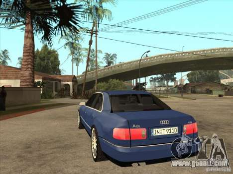 Audi A8 for GTA San Andreas back left view