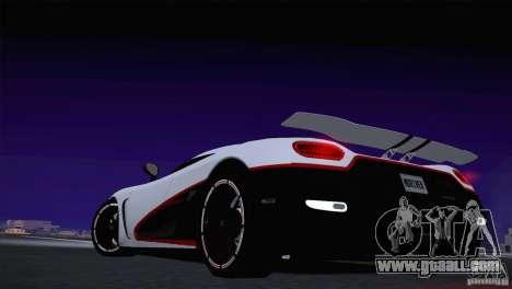 Koenigsegg Agera R 2012 for GTA San Andreas inner view