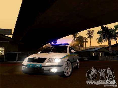 Skoda Octavia II Ukrainian TRAFFIC POLICE for GTA San Andreas back left view